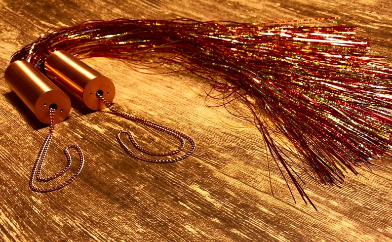 Mylar flogger, copper, red, silver, electric-toy, violet wand, fetish,  adult toy, sensation toy, bdsm, edge play, custom handcrafted, unique