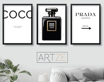 ec7a71a6db03 FASHION Set of 3 Black and White Coco Chanel Quote PRADA Marfa NOIR Perfume  Gallery Wall Art Print Picture Poster