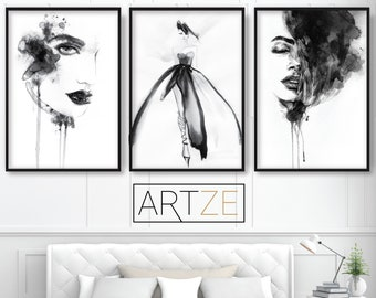 a5c421a57e5e FASHION Set of 3 Black and White Prints from Watercolour Illustrations  Woman Face catwalk Gallery Wall Art Print Picture Poster ARTZEUK