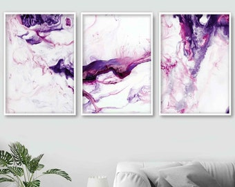 Colorful wall art Pink purple pour paint wall art 36x24 textured pink magenta purple and white fluid acrylic artwork Black wall art