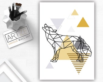 Triangle Wolf Etsy