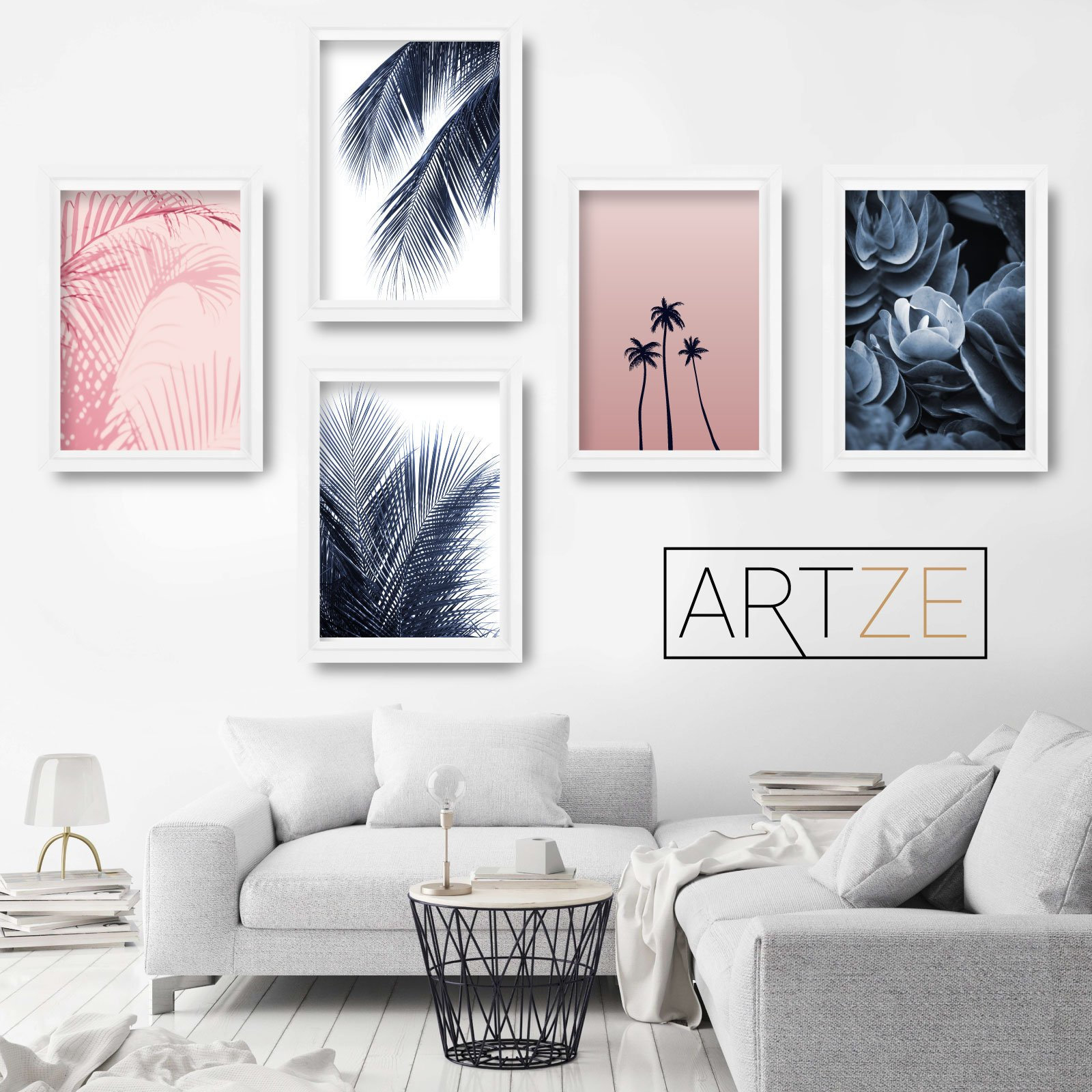 Set of 5 gallery navy blush pink wall art prints original abstract botanical palm tree wall floral pictures posters artwork