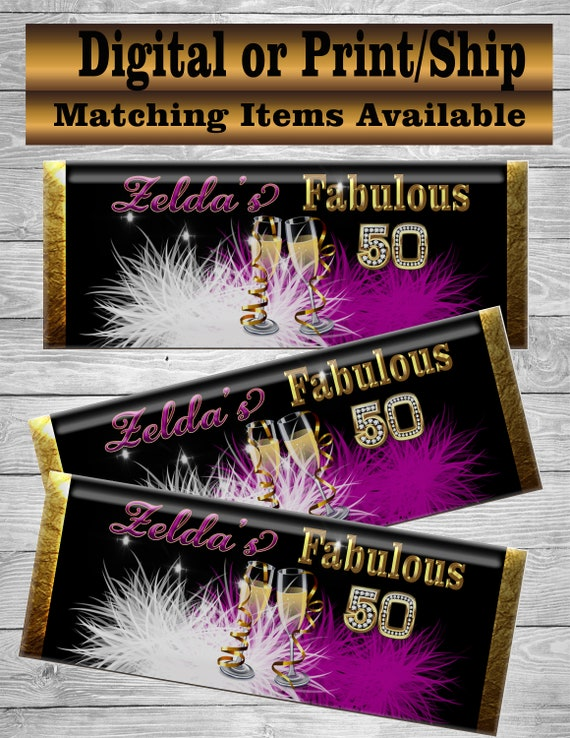 Fabulous 50 Party Favors Hershey Favors Fabulous 50 Treats Fabulous 50 Decorations Hershey Bar Favor 50th Birthday Party 50th Birthday