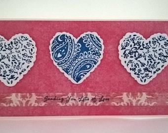 Three Hearts Sending Love Handmade Card