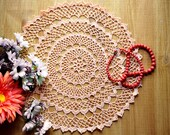 Crochet doily for sale, round 12 quot salmon color, for decorating your home, centerpieces for wedding, cottage farmhouse decor, table decor.