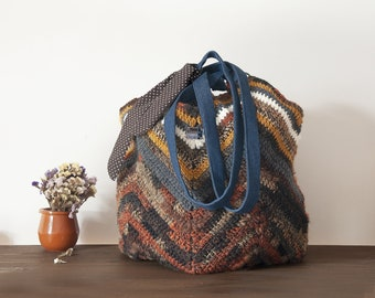 Shoulder bags for women handmade brown mustard, boho hippie style, autumn colors, 1970s gift idea, on February 14 gift for her, best friend.