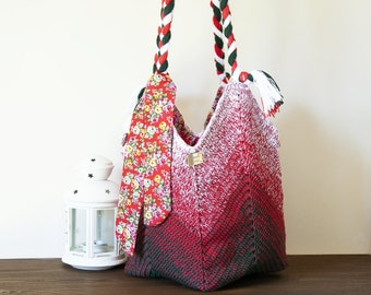 Crochet bags handmade, sack crocheted for women, hippie boho style, with shades of color, shoulder bag streewear, red green vintage handbag.