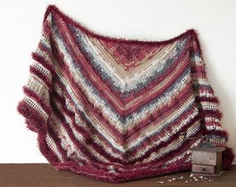 Soft shawl mohair wool handmade for women, large multicolored triangle wrap, Saint Valentine token for grandma, mother, girlfriend, friend.