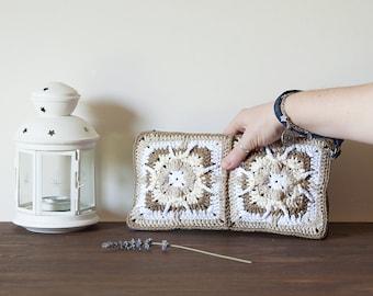 Crocheted bag purse, keychain case for women, pochette with denim jeans wristlet strap, birthday gift for her, boho style, valentine's day.
