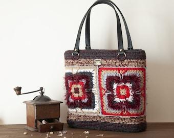 Handmade bags for women, crochet granny square style, country inspired, grandma tiles, 70's retro hippie bag, gifts for her Saint Valentine.