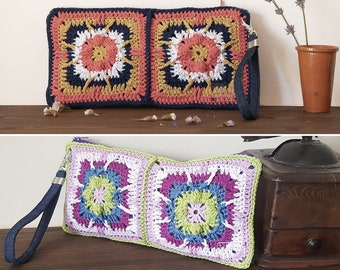 Hand made crochet bag with denim wristlet strap, pochette with zip, crocheted items for sale, on February 14 present for wife, best friend.