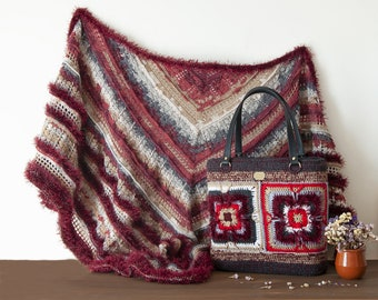 Shawl and bag matching handmade crochet, country vintage style, granny square, autumn colors, gift wife, girlfriend, free shipping world.
