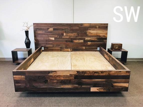 Sistema de dormitorio de nogal cama plataforma