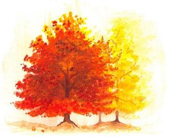 Autumn Watercolour Painting Clip Art Image JPEG High Resolution Q203