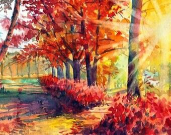 Watercolour Landscape Painting Clip Art Image JPEG High Resolution Q97