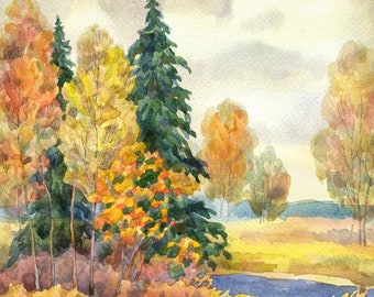 Autumn Watercolour Painting Clip Art Image JPEG High Resolution Q272