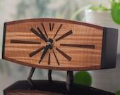 Mid Century Clock, MCM Handmade Wood Retro Design, Modern Office Desk Furniture