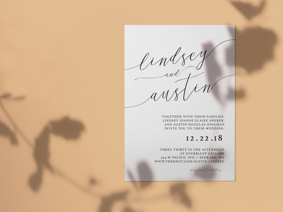 PRINTED Or DIGITAL Classic Wedding Invitation . Custom Etsy