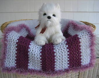156c5017e4e Grape and White Stripe with Orchid Metallic Faux Fur Trim. Dog. Cat. Cat  Blanket. Pet Blanket. Dog Bed. Crocheted Blanket