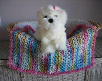 Cat Dog Teal Heather-Teal and Gray Stripes-Gray Faux Fur Trim Cat Blanket Crocheted Blanket Dog Bed Fancy Dog Blanket Pet Blanket
