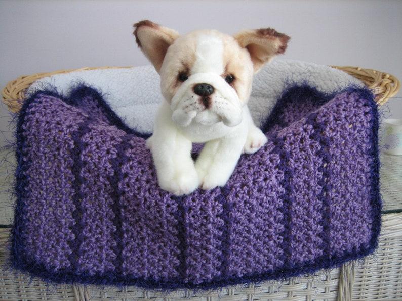 Dog Crocheted Blanket Fancy Dog Blanket Cat Purple Heather-Dk Purple Stripes-Dk Purple Faux Fur Trim Dog Bed Pet Blanket Cat Blanket