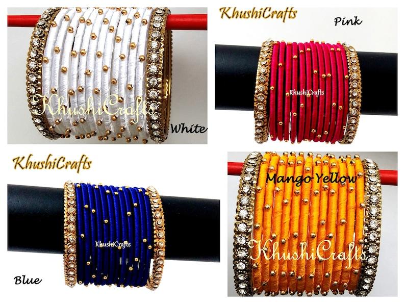 Silk Thread Bangles Indian Handmade Jewelry Baby Shower Etsy