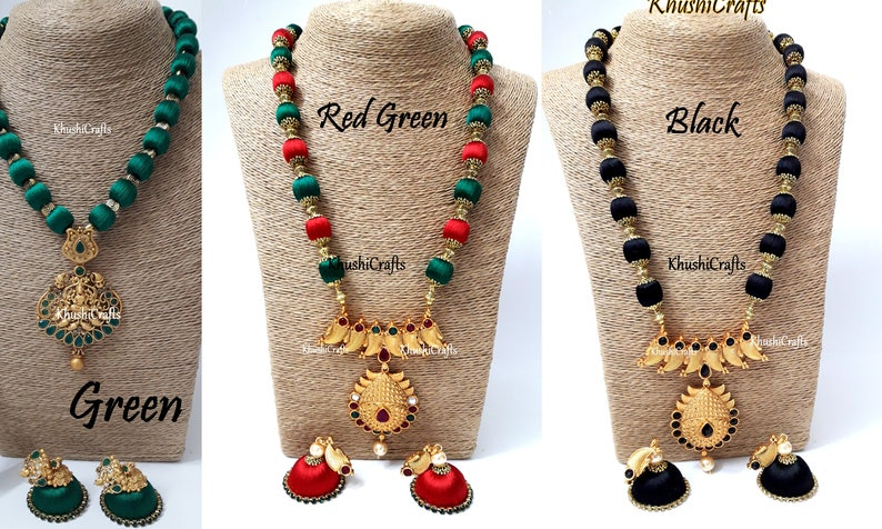 054d38046608c Silk Thread Jewelry Set with Jhumkas Green/Red Green/Black -Handmade Indian  Jewelry