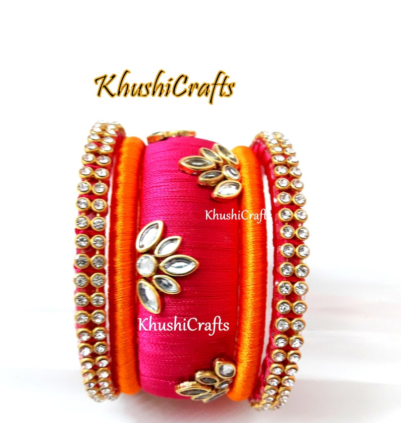 c800bfa5562f0 Indian Jewelry, Pink and Orange Kundan studded Silk Thread Bangles set  -Handmade Indian Jewelry/Bangles