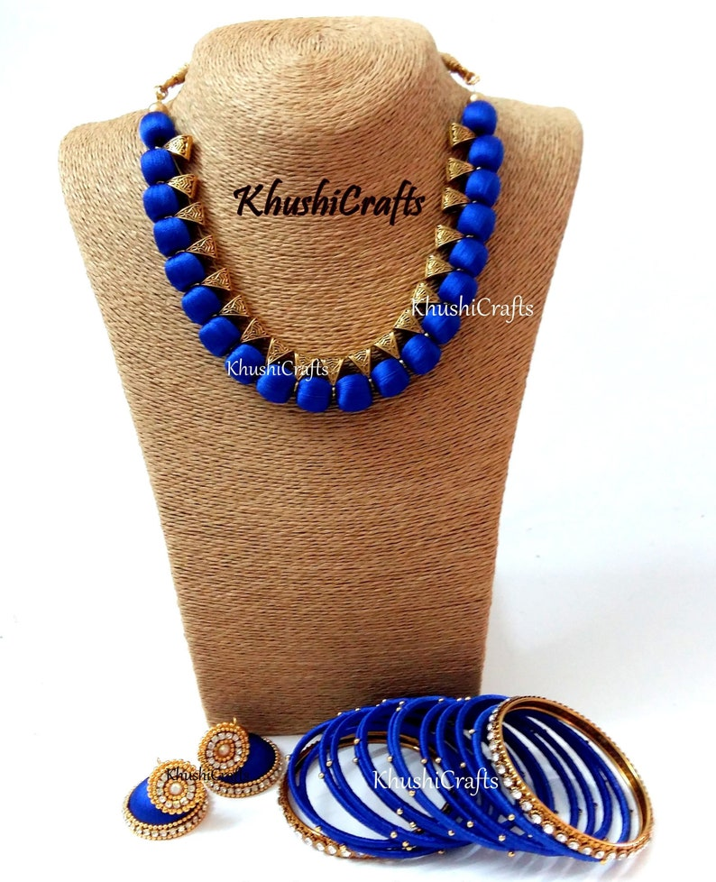 Handmade Indian Necklace Jewelry Blue Silk Thread Jewelry Set with Jhumkas and matching bangles