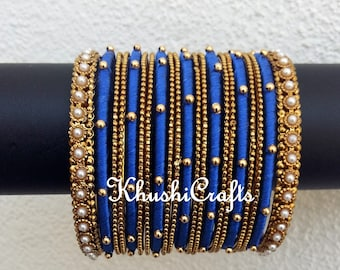 Blue Silk Thread Beaded Bangles set -Handmade Indian Jewelry