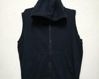Vintage Champion Small Logo Zipper Hoodie Sleeveless Sweatshirt Sweater