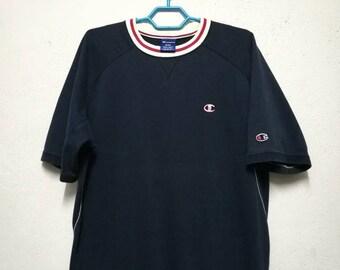 Vintage Champion Small Logo Short Sleeve Sweatshirt Sweater