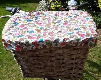Showerproof Bike Basket Cover, handmade to keep your shopping dry on rainy days