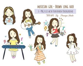 Musician girls brown long hair clipart, digital download, planner sticker, printable sticker