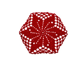 Crocheted doily Small flower Round Doily dreamcatcher Crochet coasters Table doily mandala tablecloth housewares Lace Elegant doily Red