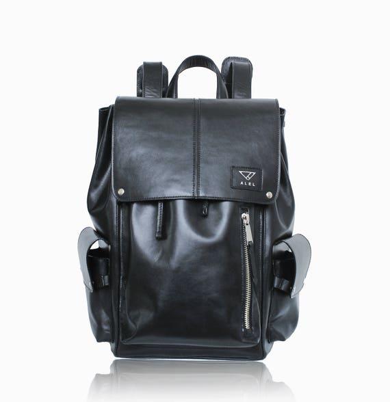 Man Leather Backpack Black Leather Mens Rucksack Laptop Etsy