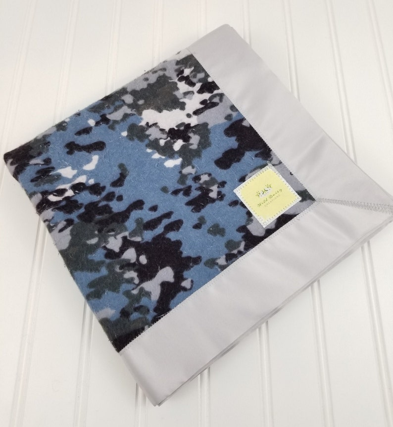 Blue /& Gray Camo Patriotic Military USA Cotton Flannel Receiving Blanket with Satin Trim 40x40 for InfantToddlerBaby