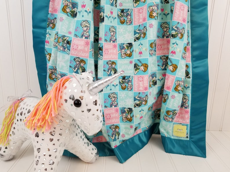 Disney Frozen Princess Anna Elsa Cotton Flannel Receiving Blanket with Satin Trim 40x40 for InfantToddlerBaby