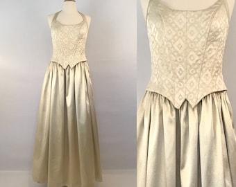 80s Gold Jessica McClintock Gunne Sax Dress