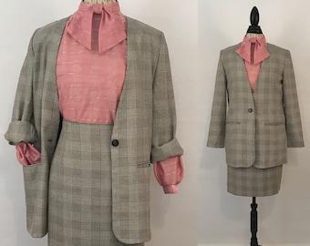 80s Houndstooth Career Suit Set Vintage Skirt/Jacket 2 pcs