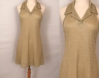 90s BCBG Gold Lame Party Dress