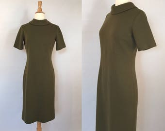 50s Olive Green Wool Dress Vintage Mad Men Wiggle Dress