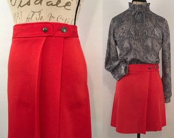 70s Red Mini Skirt Vintage Japanese Wrap Style