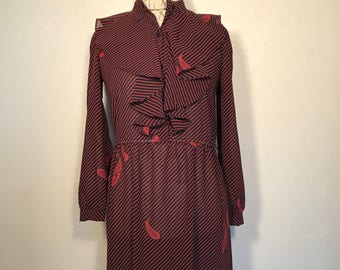 Vintage 90s Dress Red/Black Secretary Style Dress Transparent Grunge Romantic