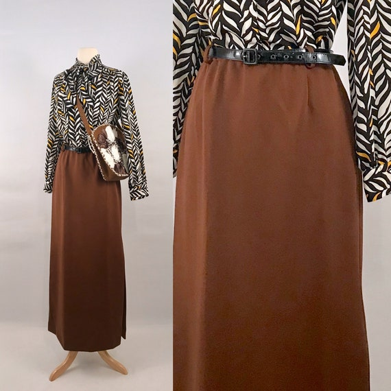 brown maxi pull on skirt | 70s vintage