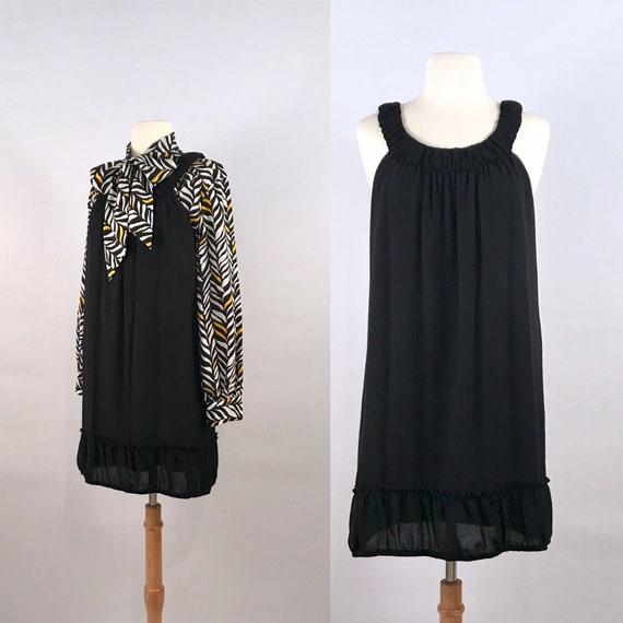 black babydoll mini dress | 90s vintage