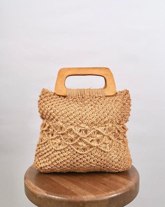 woven straw handbag with wooden handle | 60s vinta