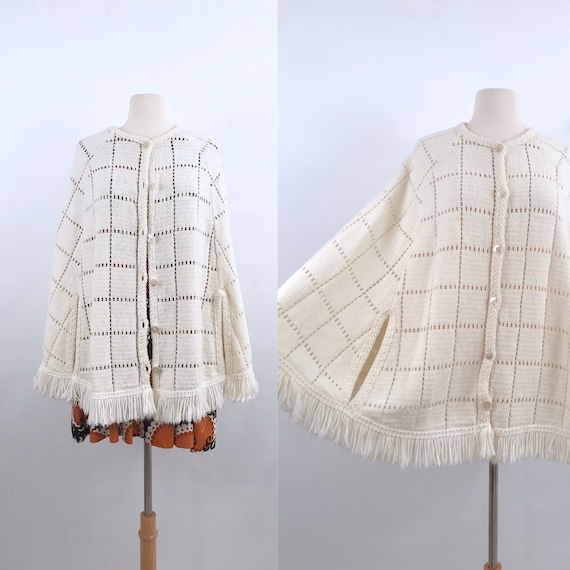 crochet knit poncho cape | 70s vintage
