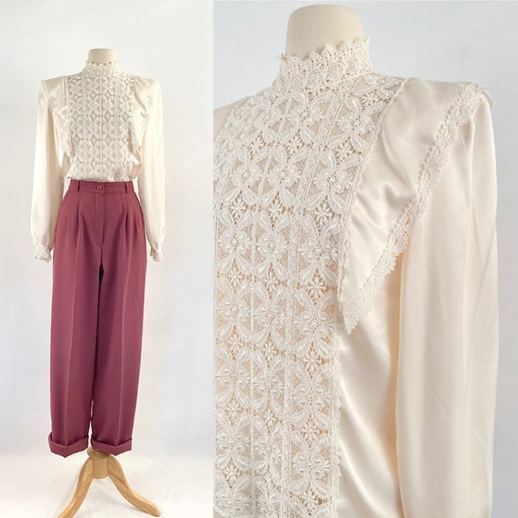 satin ivory Victorian lace blouse | 70s vintage