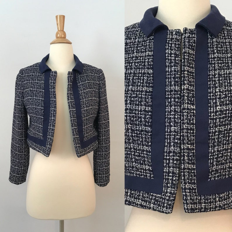 35bca4788f85 60s Blue Houndstooth Jacket / Vintage Coco Chanel Inspired | Etsy